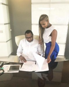 DJ Cuppy Visits Her Father, Femi Otedola's Office, Check Out His Phones