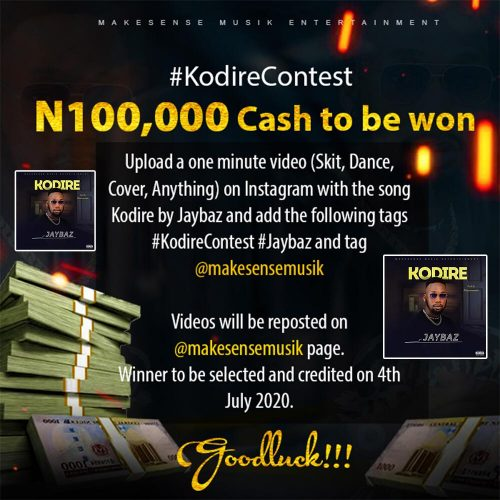 Free Beat : Stand a chance to win 100k  join the #KodireContest … N100,000 Cash to be won